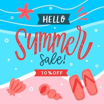 Diseño de venta de verano dibujado
