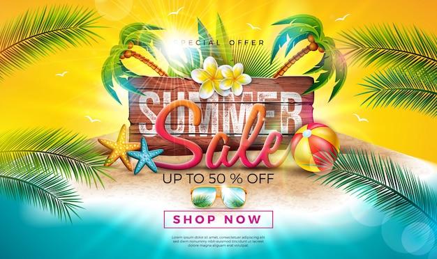 Diseño de venta de verano con flores, hojas de palmeras exóticas y letra de tipografía en tablero de madera vintage. ilustración de oferta especial tropical