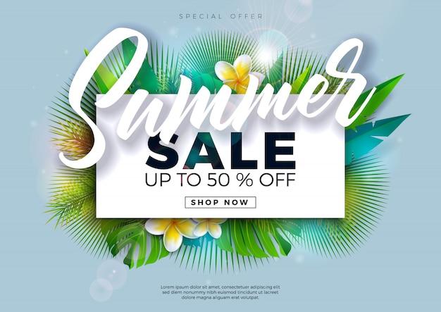 Diseño de venta de verano con flores y hojas de palmeras exóticas sobre fondo azul. ilustración de oferta especial tropical con letra de tipografía