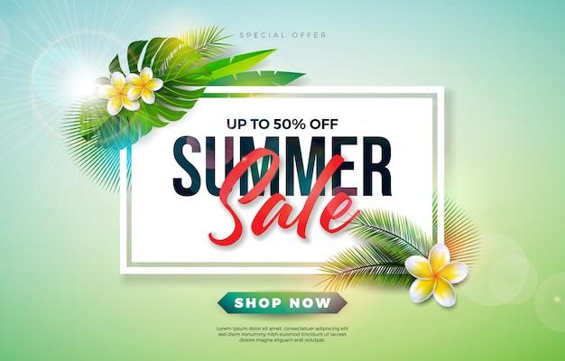 Diseño de venta de verano con flores y hojas de palmeras exóticas sobre fondo verde