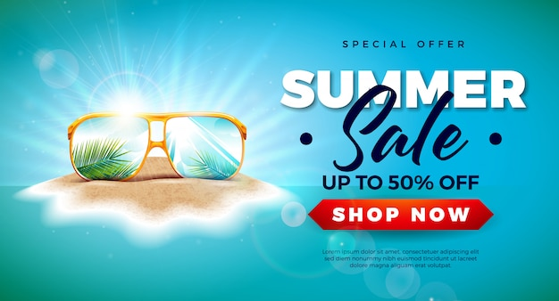 Diseño de venta de verano con hojas de palmeras exóticas en gafas de sol.
