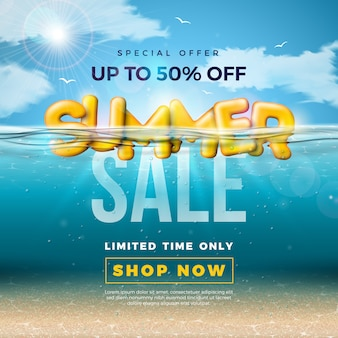 Diseño de venta de verano con letra de tipografía 3d en océano azul submarino