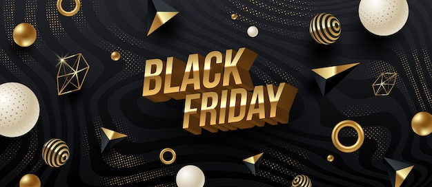 Diseño de venta de viernes negro. letras 3d metálicas doradas sobre un fondo rayado abstracto negro con formas geométricas doradas.