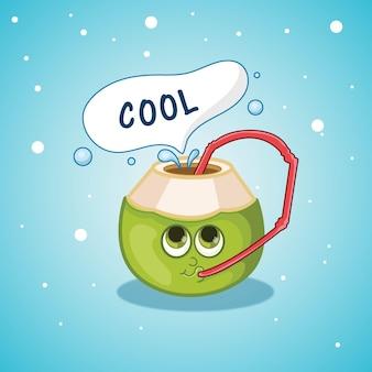 Diseño de verano con agua potable de coco con pajita.