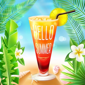 Diseño de verano con cóctel
