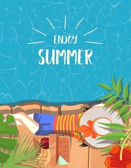 Diseño de verano con fondo de piscina.