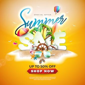 Diseño de verano con gafas de sol y palmeras.