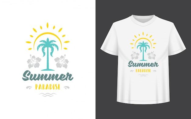 Diseño de verano con palmera y sol para camiseta