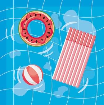 Diseño de verano con piscina y flotador.