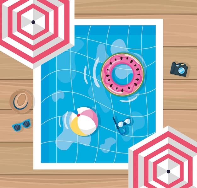 Diseño de verano con piscina y sombrilla.