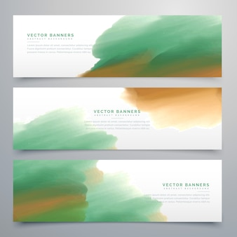Diseño verde de banners de acuarela