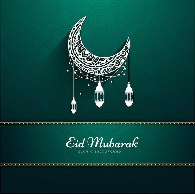 Diseño verde para eid mubarak