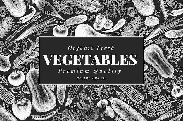 Diseño de verduras dibujadas a mano