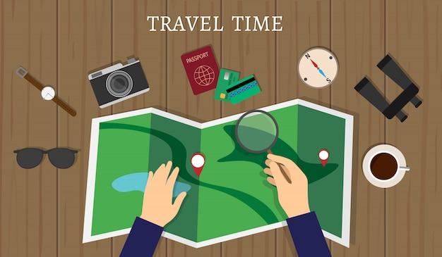 Diseño de viajes de verano. tiempo de viaje.