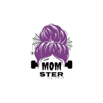 Diseño de vida de mamá de vacaciones de moño desordenado de halloween con cita mamá espeluznante mamá divertida