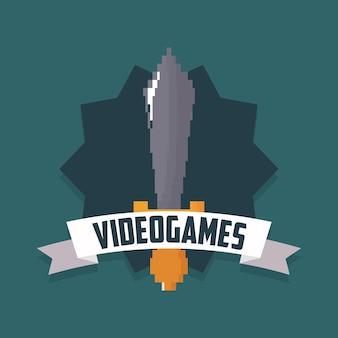 Diseño de videojuego con espada pixelada y cinta decorativa