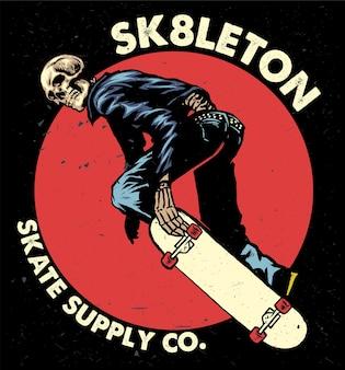 Diseño vintage de calavera skate