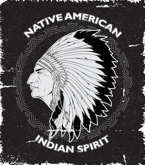 Diseño vintage de espíritu nativo americano