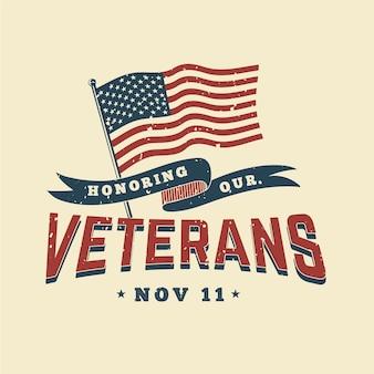 Diseño vintage festivo día de los veteranos