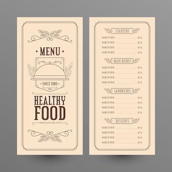 Diseño vintage de menú de comida sana