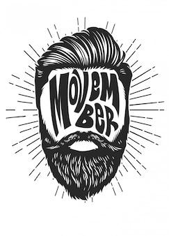 Diseño vintage movember con cabeza de hombre barbudo