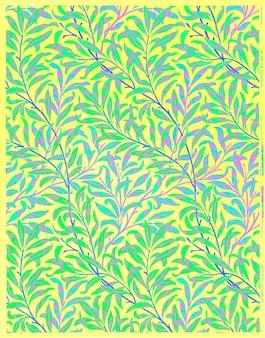 Diseño vintage de papel tapiz de sauce, remezcla de ilustraciones originales de william morris