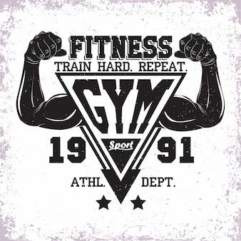 Diseño vintage, sello de impresión de grange, emblema de tipografía de fitness, logotipo de deportes de gimnasio diseño creativo