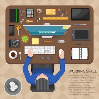 Diseño de la vista superior del espacio de trabajo