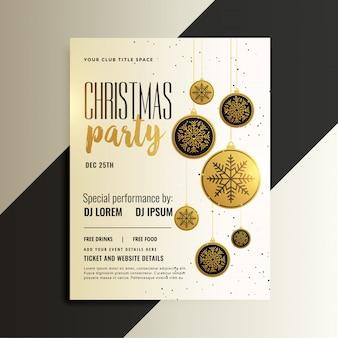 Diseño de volante de celebración de feliz navidad en tema de oro