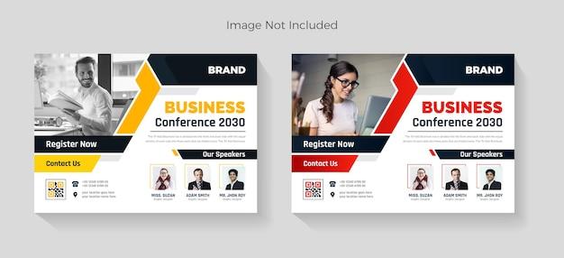 Diseño de volante de conferencia de negocios horizontal corporativa.