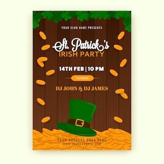 Diseño de volante de fiesta irlandesa de san patricio con sombrero de duende
