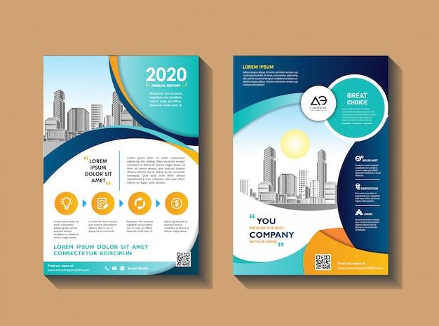 Diseño de volante moderno para informe anual con ciudad