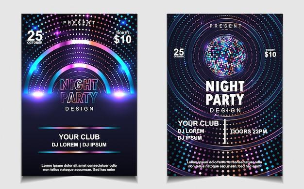 Diseño de volante o cartel de música de fiesta de baile nocturno de brillos coloridos