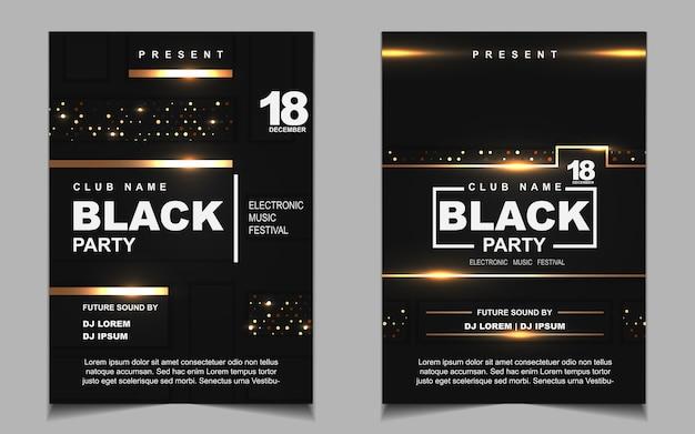 Diseño de volante o cartel de música de fiesta de baile nocturno negro y dorado