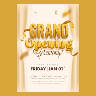 Diseño de volante o plantilla de gran ceremonia de inauguración con detalles del evento para publicidad