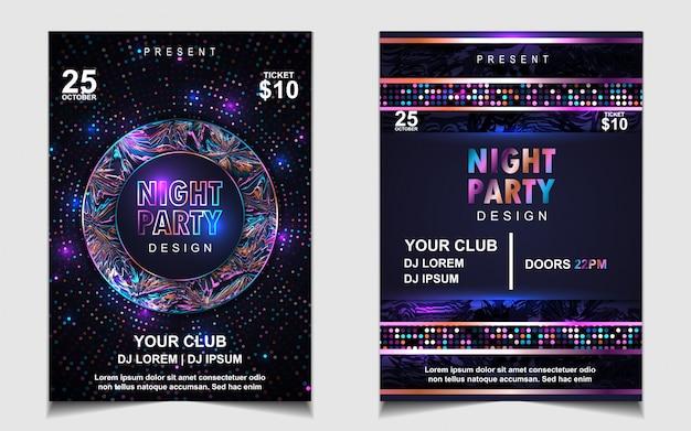 Diseño de volante o póster de música de fiesta de baile nocturno colorido