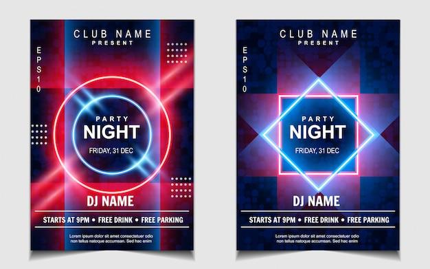 Diseño de volante o póster de música de fiesta de baile nocturno de luz de neón colorida