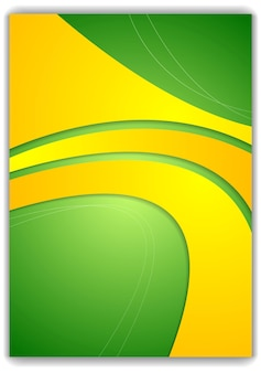 Diseño de volante ondulado amarillo verde abstracto. vector de fondo