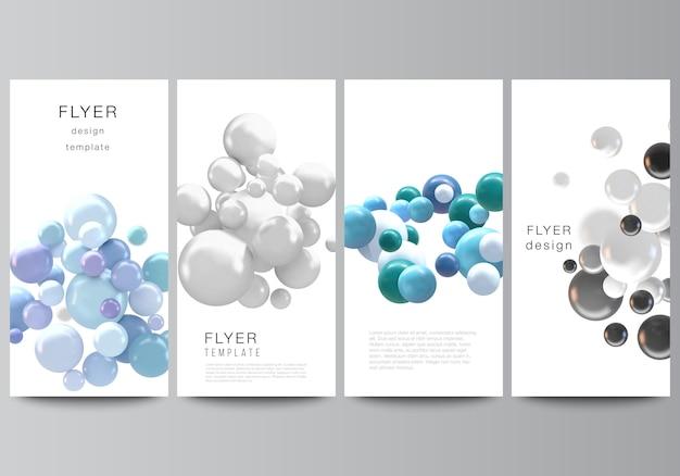 Diseño de volante, plantillas de banner para diseño publicitario de sitios web, diseño de folletos verticales, fondos de decoración de sitios web. fondo realista con esferas 3d multicolores, burbujas, bolas