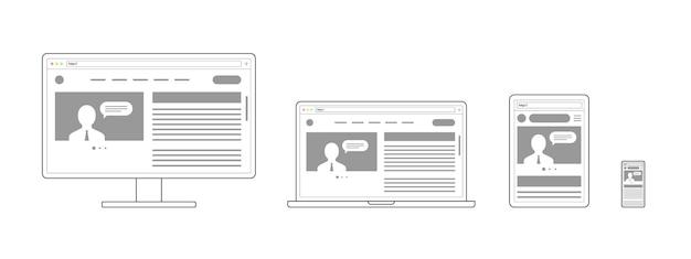 Diseño web adaptable y receptivo sitio web abierto en dispositivos computadora pc monitor tableta teléfono inteligente