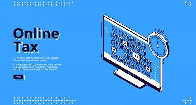 Diseño web de aterrizaje isométrico de impuestos en línea, impuestos