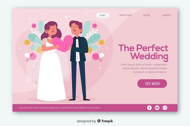 Diseño web colorido de la página de aterrizaje de la boda