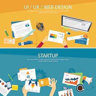 Diseño web y diseño plano de concepto de inicio