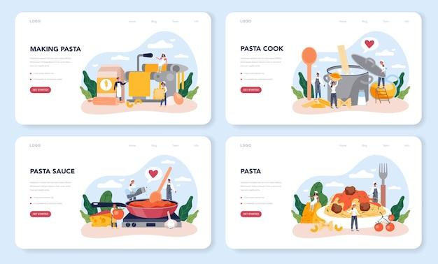 Diseño web de espagueti o pasta o conjunto de página de destino. comida italiana en el plato. cena deliciosa, plato de carne. ingredientes de champiñones, albóndigas, tomates.