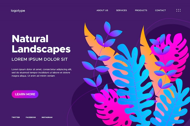 Diseño web con gradiente de hojas.