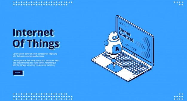 Diseño web isométrico de internet de las cosas, iot.