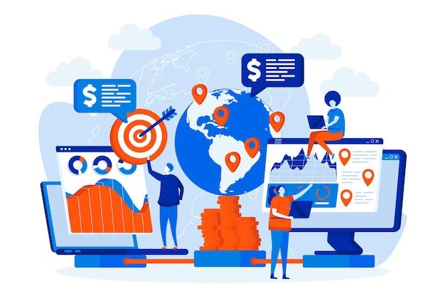 Diseño web de negocios globales con personajes de personas.