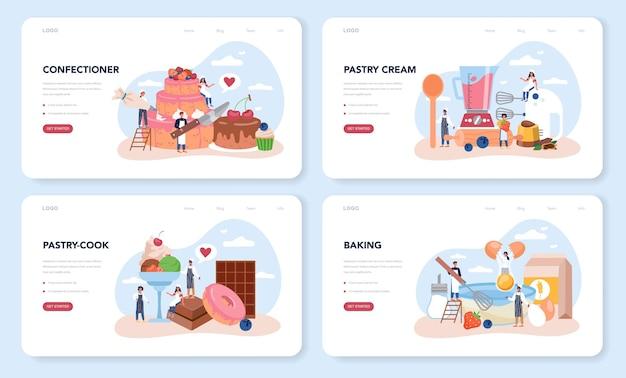 Diseño web de pastelería o conjunto de página de destino. chef pastelero profesional. pastel de cocción de panadero dulce para vacaciones, magdalenas, brownie de chocolate.