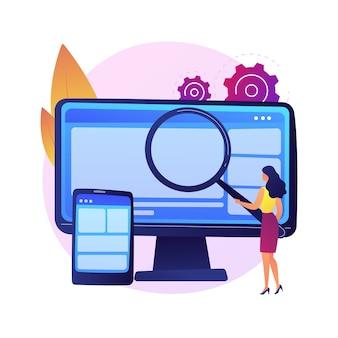 Diseño web. producción y mantenimiento de sitios web. gráfico web, diseño de interfaz, sitio web receptivo. ingeniería de software y desarrollo colorido icono.