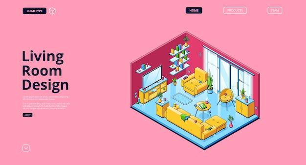 Diseño web de sala de estar con interior isométrico.